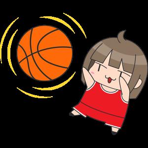 バスケ シュートをする女子選手 無料イラスト かわいいフリー素材集 ねこ画伯コハクちゃん