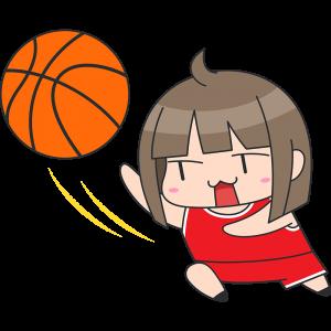 バスケ:レイアップシュートをする女性選手のイラスト【無料・フリー】