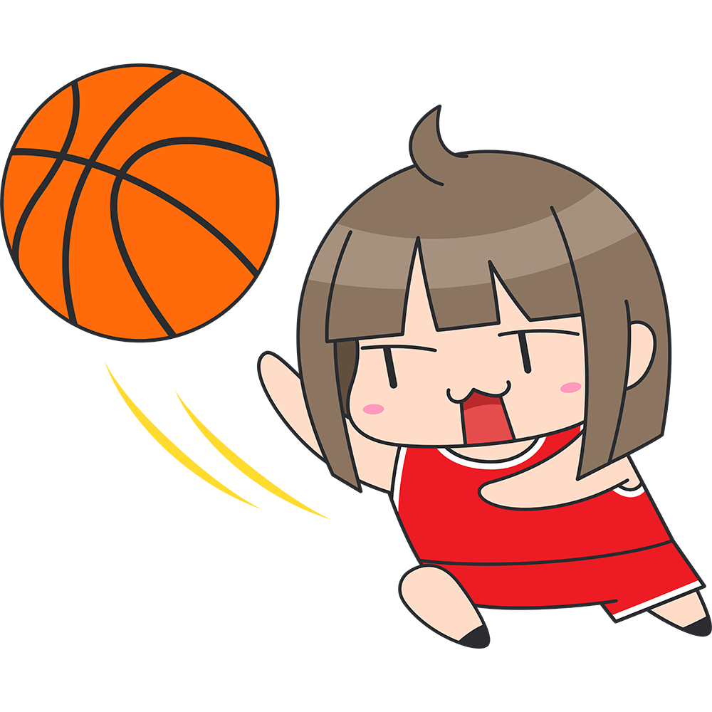 バスケ:レイアップシュートをする女子選手のイラスト【無料・フリー】