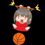 バスケ:ダンクシュートをする女子選手のイラスト【無料・フリー】