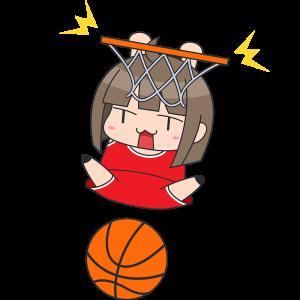 バスケ:ダンクシュートをする女性選手のイラスト【無料・フリー】