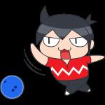 ボーリング:ボールを投げる選手のイラスト【無料・フリー】