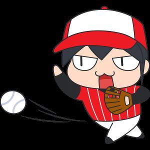 ソフトボールをする男性のイラスト【無料・フリー】