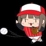 ソフトボール:ボール投げる女子選手のイラスト【無料・フリー】