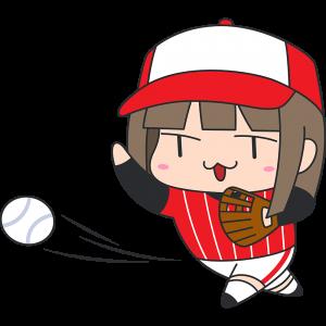 ソフトボールをする女性のイラスト【無料・フリー】