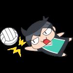 バレー:レシーブをする選手のイラスト【無料・フリー