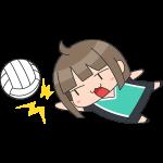 バレー:レシーブをする女子選手のイラスト【無料・フリー】