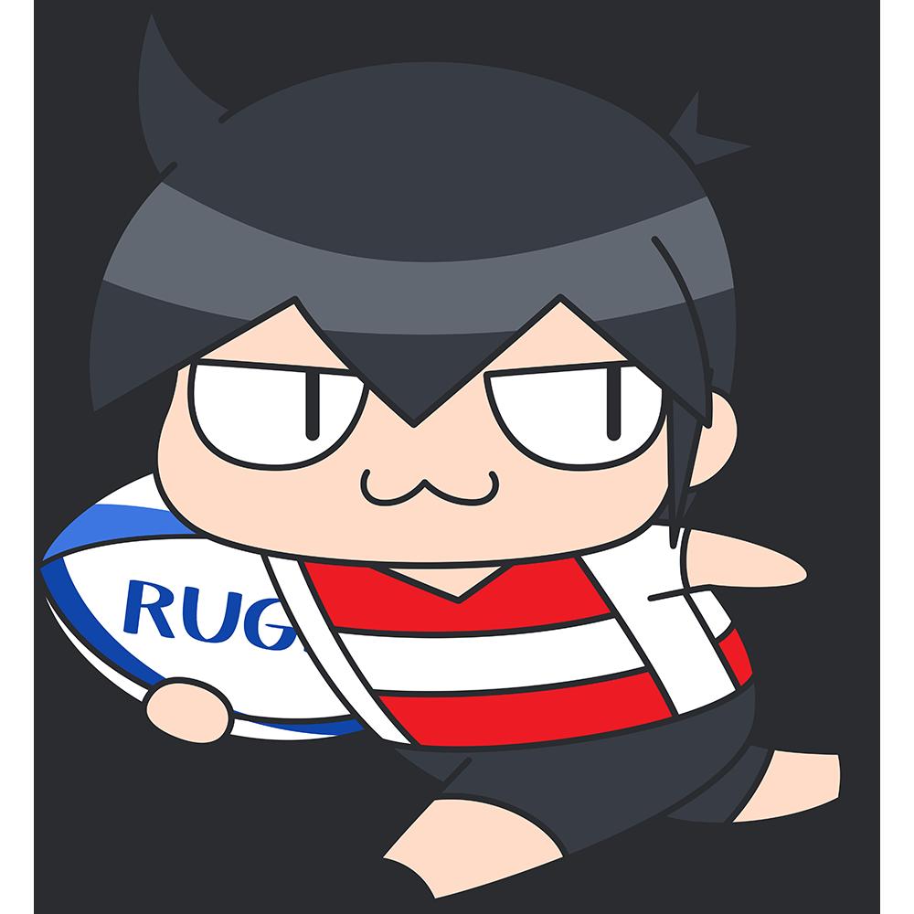 ラグビー:ボールを持って走る選手のイラスト【無料・フリー】