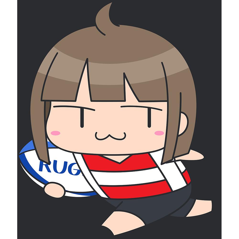 ラグビー:ボールを持って走る女子選手のイラスト【無料・フリー】