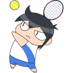 テニス:サーブをする選手のイラスト【無料・フリー】