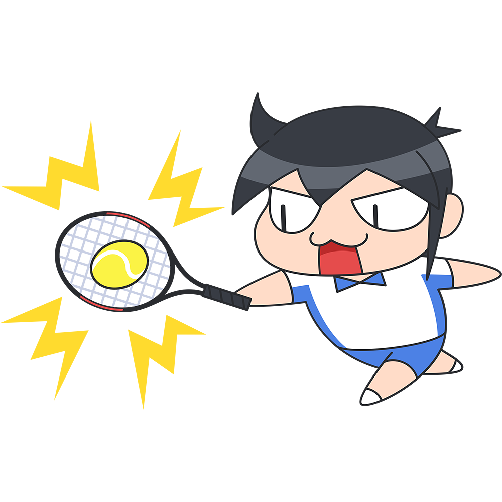 テニス:ボールを打つ選手のイラスト【無料・フリー】