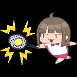 テニス:ボールを打つ女子選手のイラスト【無料・フリー】