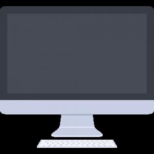キーボードありのiMac風パソコンのイラスト【無料・フリー】