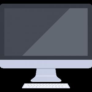 キーボード反射ありのiMac風パソコンのイラスト【無料・フリー】