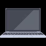反射ありのMacBook風のノートパソコンのイラスト【無料・フリー】