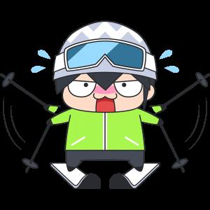 初めてスキーをする男子のイラスト【無料・フリー】