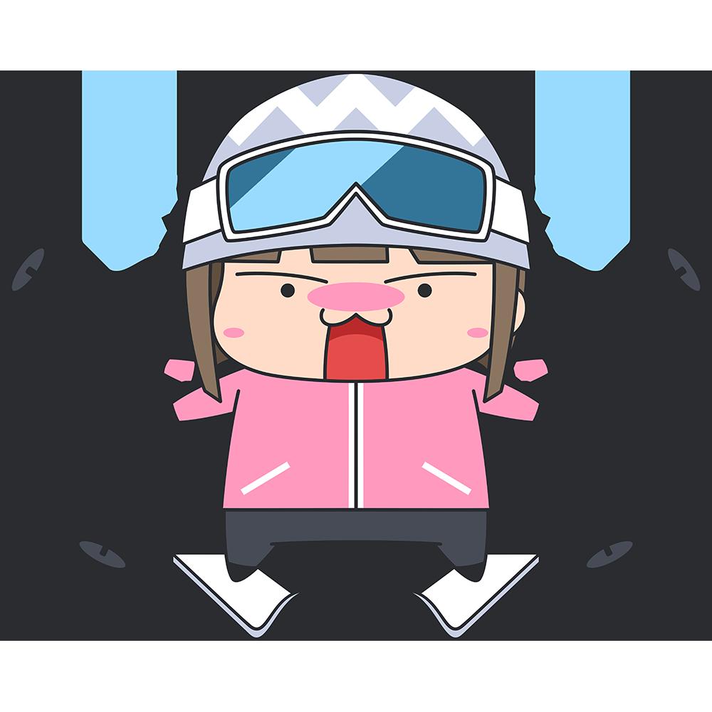 初めてスキーをする女子のイラスト【無料・フリー】