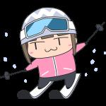 スキーをする女子選手のイラスト【無料・フリー】