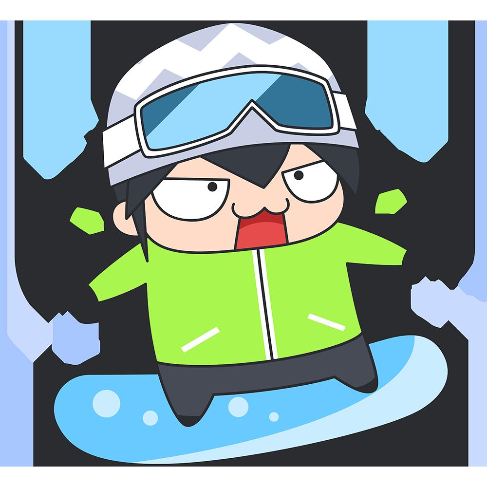 初めてスノーボードをする男子のイラスト【無料・フリー】
