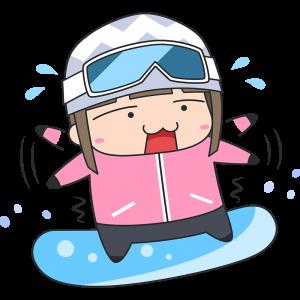 初めてスノーボードをする女子のイラスト【無料・フリー】