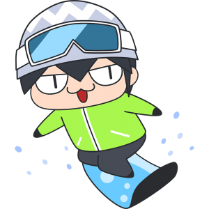 スノーボードをする男子選手