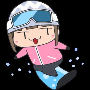 スノーボードをする女子選手