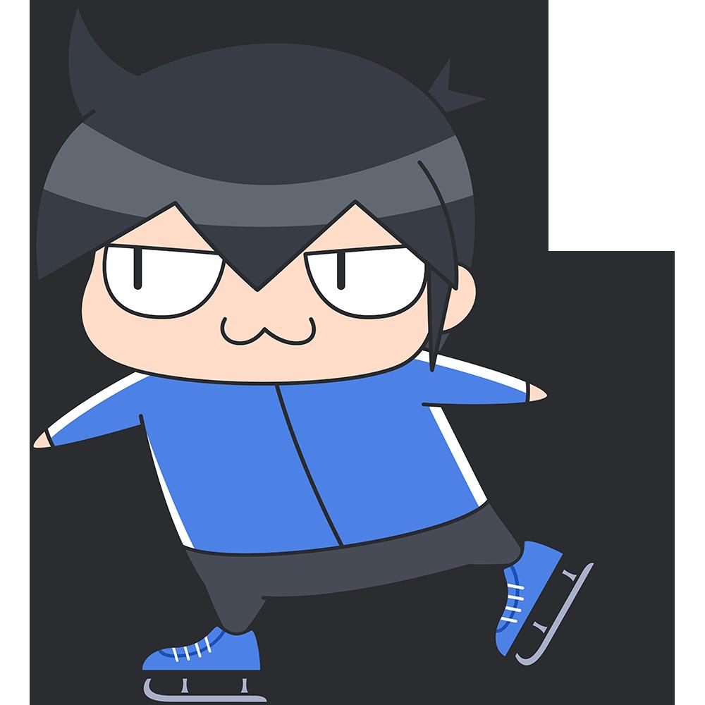 スケートをする男子選手のイラスト【無料・フリー】