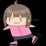 スケートをする女子選手のイラスト【無料・フリー】