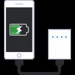モバイルバッテリーで充電する携帯電話の無料イラスト