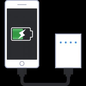 モバイルバッテリーで充電する携帯電話のイラスト【無料・フリー】