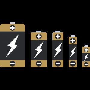 単1・単2・単3・単4・単5の乾電池のイラスト【無料・フリー】