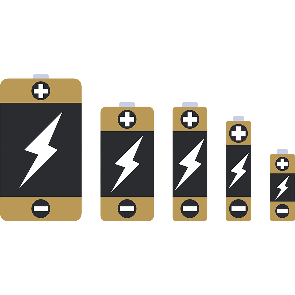 単1・単2・単3・単4・単5の乾電池の無料イラスト