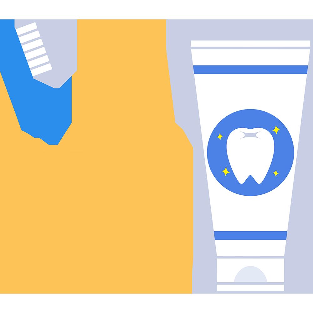 歯磨きセットの無料イラスト