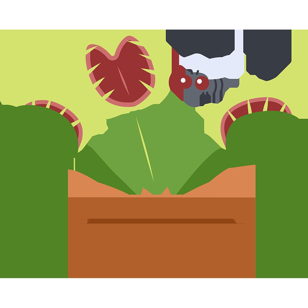 食虫植物ハエトリグサの無料イラスト