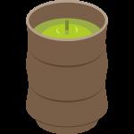 茶柱が立ったお茶と湯呑の無料イラスト