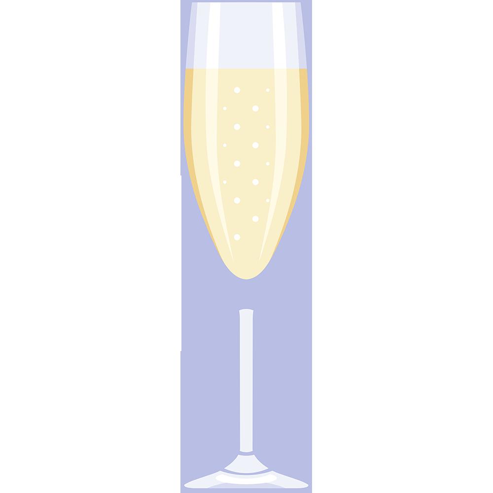 シャンパン(グラス)の無料イラスト