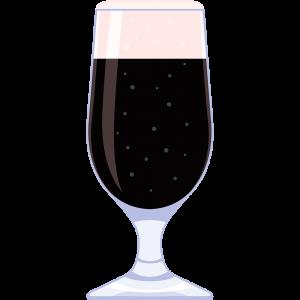 黒ビール(グラス)の無料イラスト