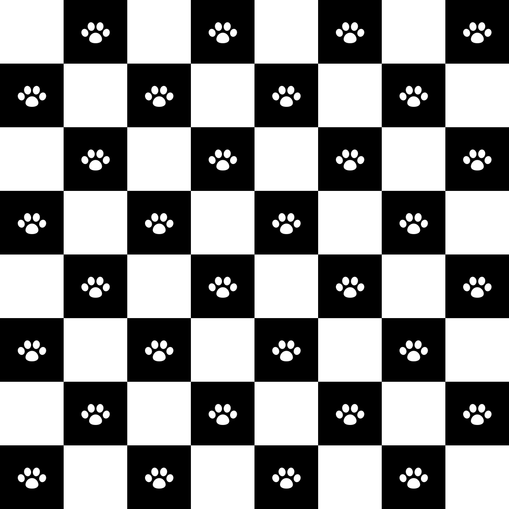 肉球とチェックパターン(2)の無料イラスト