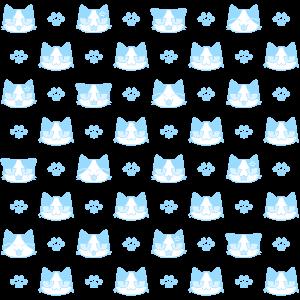 猫と肉球パターン(2)の無料イラスト