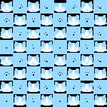 猫と肉球パターン(4)の無料イラスト