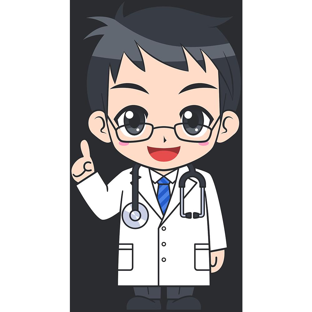 説明をする男性医師の無料イラスト