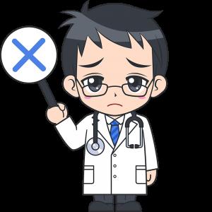 不正解を出す男性医師の無料イラスト