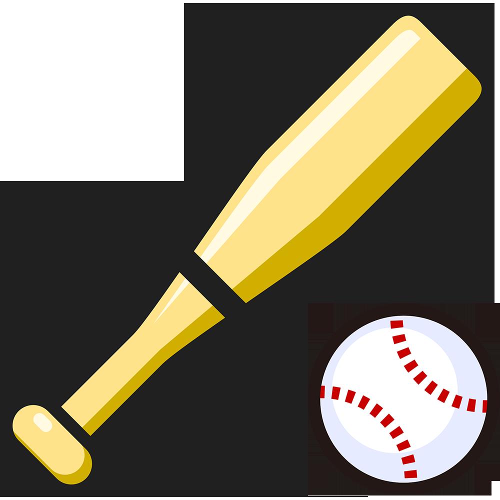 野球ボールとバットの無料イラスト