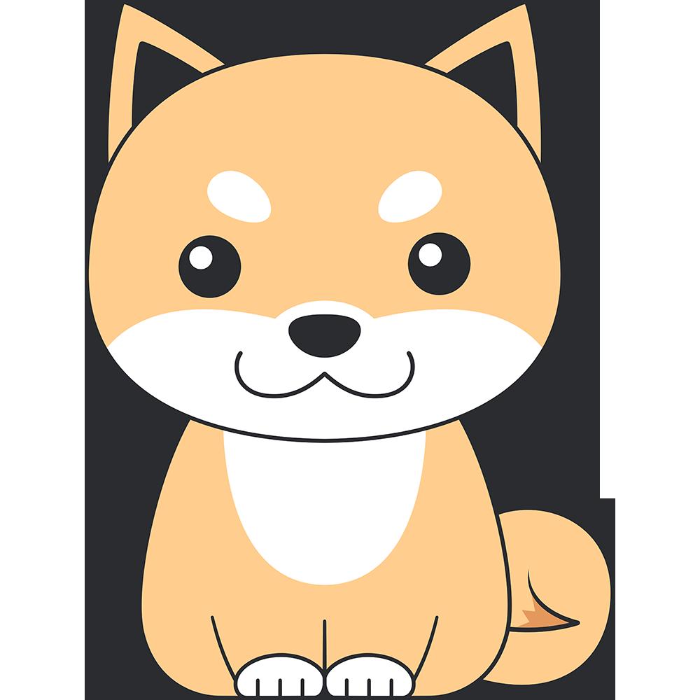 座る柴犬(茶色-2)の無料イラスト