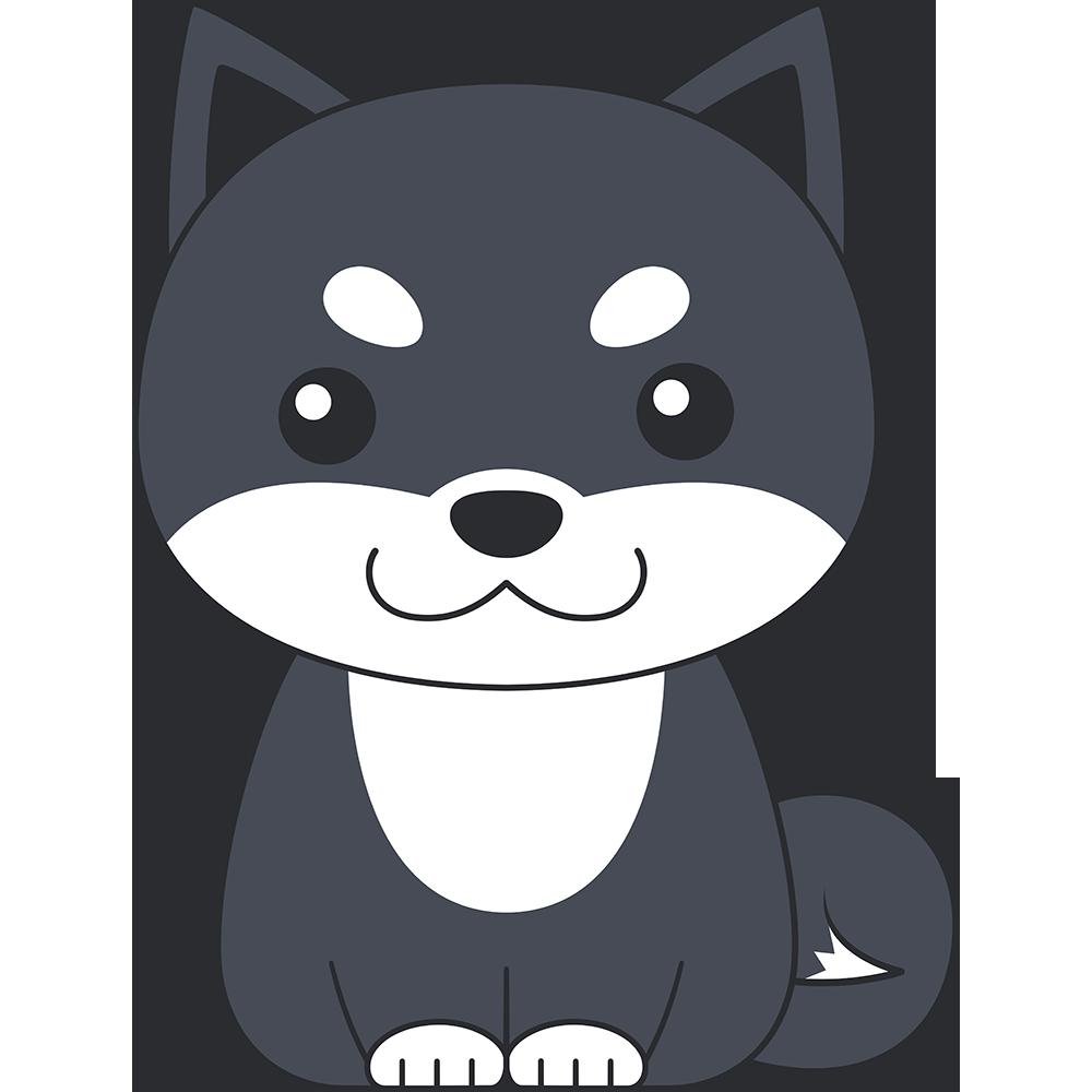 座る柴犬(黒-2)の無料イラスト