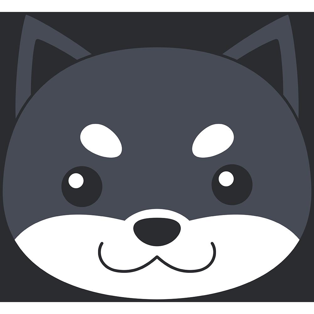 柴犬の顔(黒-2)無料イラスト