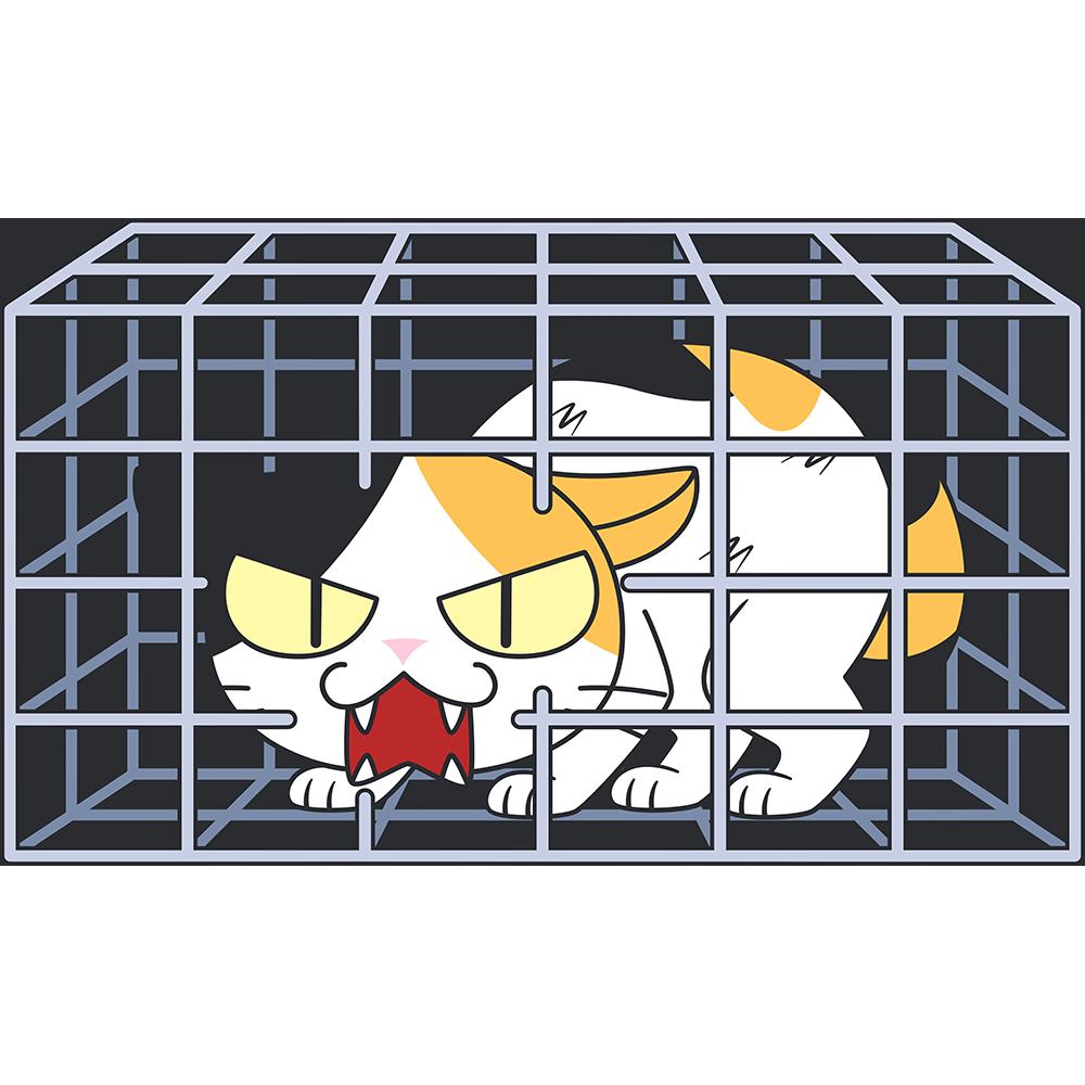 捕獲された野良猫の無料イラスト
