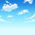 アニメ風の空と雲の無料イラスト