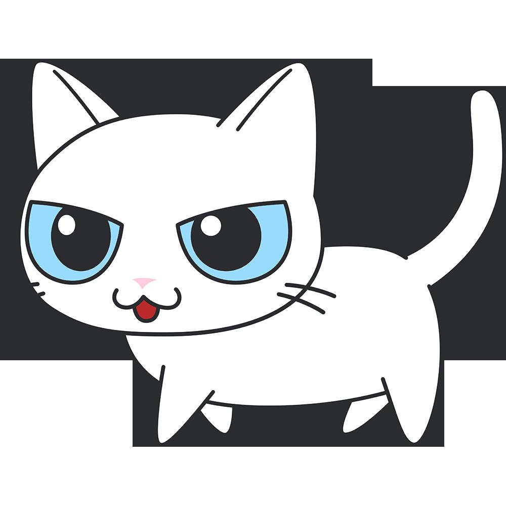 かわいい白猫の無料イラスト