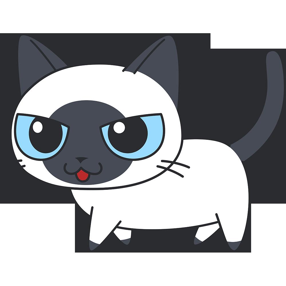 かわいいシャム風猫の無料イラスト